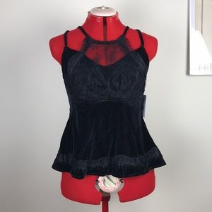 Free People NWT Black Velvet and Lace Tank size M